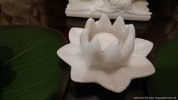 Lotus Marble Tea Light Holder