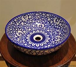 White & Blue Chinese Design Basin